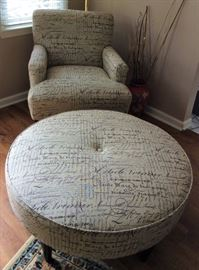 Practically new side chair with matching oversized ottoman.