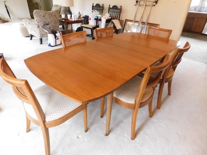 #1 FIRM Mid century dining table with 6 chairs $400.00