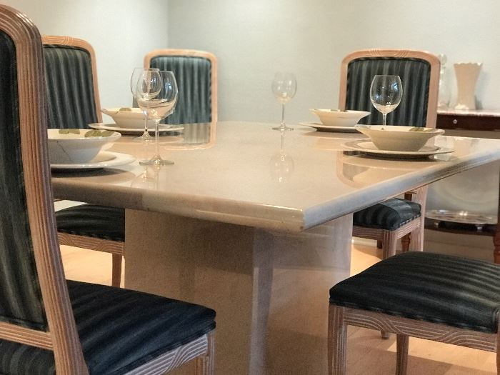 Travertine marble dining table and eight prisitne chairs