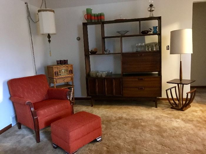 Mid Century Modern Table Lamp, Upholstered Chair and ottoman, and Room Divider/bar-shelving unit
