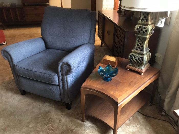 Upholstered Arm Chair and Lane Side Table