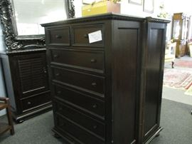 3 pieces of dark color wood dressers - Black mirror was over the Henredon low dresser