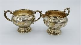 Sterling cream and sugar serving set