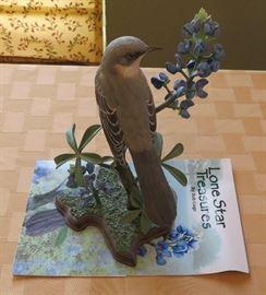 Bob Guge Texas mockingbird with bluebonnets
