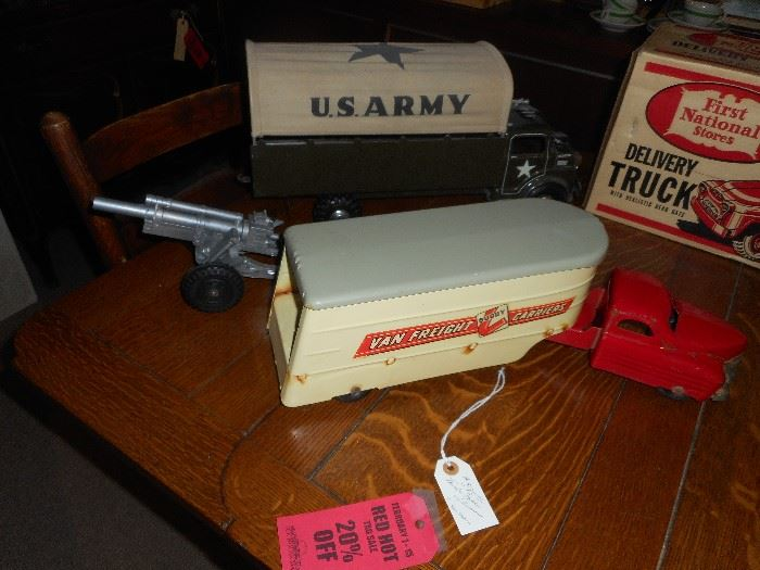 Buddy L  and Marx US Army Truck and Howitzer