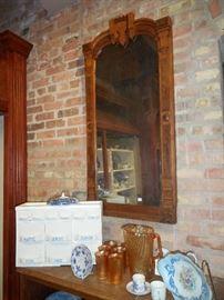 tall mirror, Eastlake Style.  porcelain spice cabinet, Carnival glass lemonade set