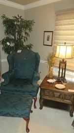 Wing Back Chair and Footstool, End Table, Lamp, Artificial Tree