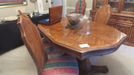 Pedestal Table 68x44 with  Host and 4 Side Chairs