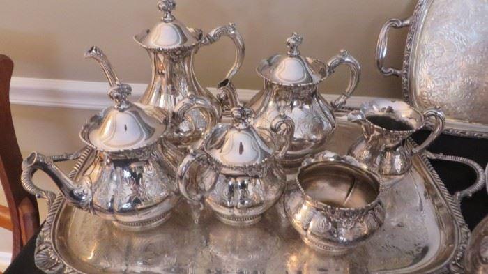 8 pc Silver Plated Tea Service