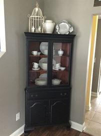 Solid wood black corner cabinet