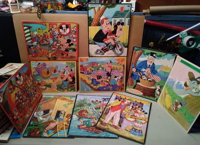 Vintage frame tray puzzles...Popeye !...Mickey Mouse Club...Captain Kanagroo...Tom and Jerry....Little Lulu.....