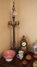 Gorgeous Pr. Large Lamps, As Is Enamel Front Clock