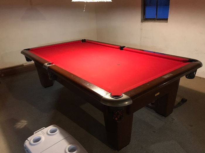 "Brunswick pool table. 9'5"" x 5'3"" slate table (3 piece)  Sturdy and level table. Very good condition."