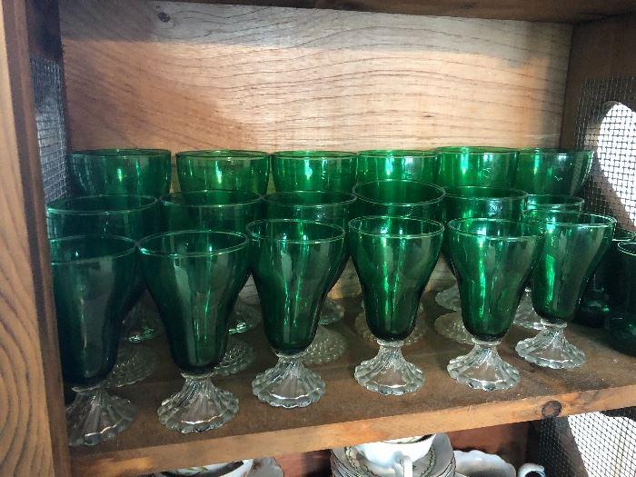 Green depression glasses