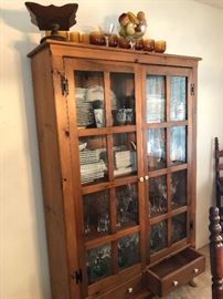 China cabinet.  Square dishes not for sale