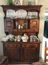 Colonial Hutch with china and crystal