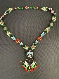 Vintage Native American Beaded Thunderbird Necklace