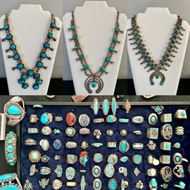 Squash Blossom Native American Necklaces ~ Turquoise ~ Old Pawn Rings Bracelets