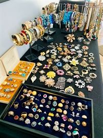 A whole lot of Vintage Sarah Coventry Jewelry ~ Mostly from he 1960's-1970's. Rings - Broaches - Necklaces - Bracelets / Bangles and other costume jewelry