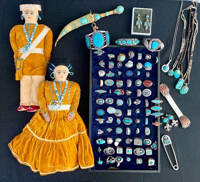 Squash Blossom Native American Necklaces ~ Turquoise ~ Old Pawn Rings Bracelets ~ Cloth Dolls