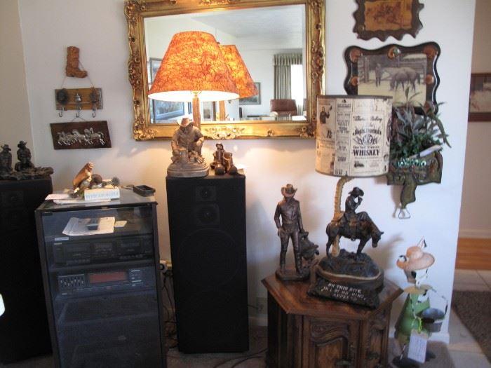 Western sculptures, lamps, wall hangings, knick-knacks