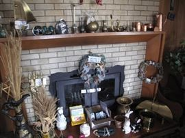 Whimsical collectables! Brass, copper, glass, iron. Fireplace tools