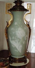 WONDERFUL Pate-sur-Pate Lamp (Vase) attributed to Minton LARGE