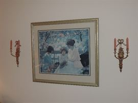 Print - shown with brass sconces