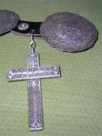 """Sterling Cross measures 4"""" tall x 2-5/8"""" wide. Weighs 125g.  Medallions are 3-1/8"""" in diameter and weigh approx. 52g each. There are 10 medallions."""