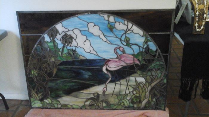 Large Stained Glass Window approx. 3' X 4'