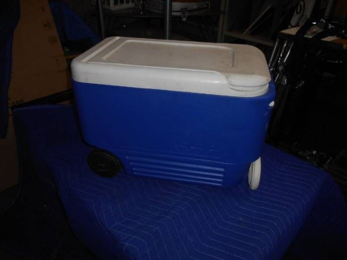 Blue Pull Behind Wheeled CoolerIce Chest