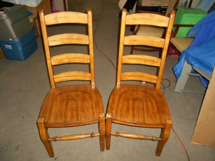 Two Maple Ladderback Wood Chairs