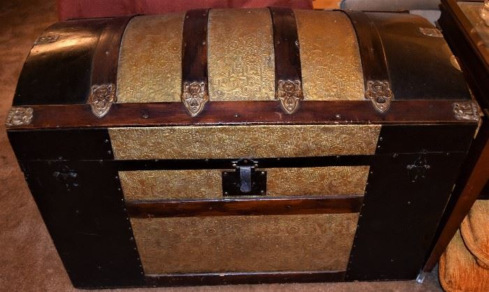 Antique Embossed Tin and Wood Dome Victorian Steamer Trunk Circa late 1800s