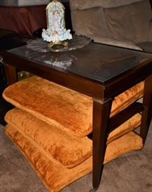 Antique Mahogany Small Serving Table with Gold Leaf Trimmed Leather Inlay, Vintage Floor Pillow Ottoman