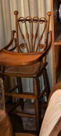 Antique Victorian Wicker High Chair