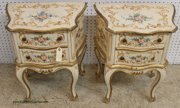 PAIR of Italian Paint Decorated 2 Drawer Stands – auction estimate $200-$400