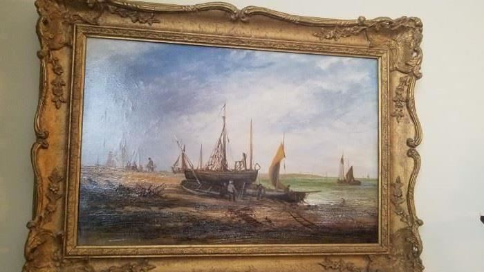 Beautiful 1800s Seascape Oil Painting by Listed English Artist James Webb (1825-1895). This painting may be sold prior to sale. Serious buyer contact Donna Davis