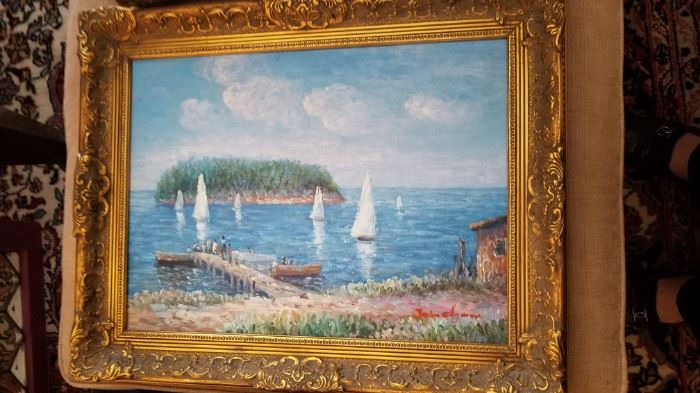 """Pair James Clymer Original painting 15""""x11"""" Exposed canvas size overall with frame 19""""x 15"""""""