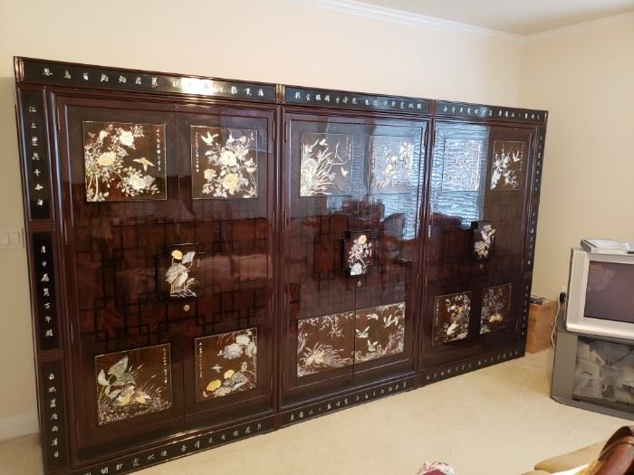 "Korean Wardrobe- Black Lacquer Mother of Pearl-3 pc with each piece being 6'8"" high x 4' wide"