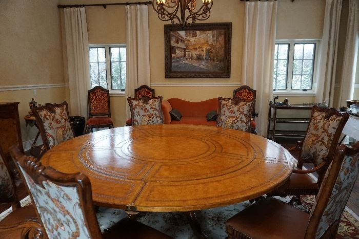 """Maitland Smith dining table, with additional leaves attached for 87"""" diameter table."""