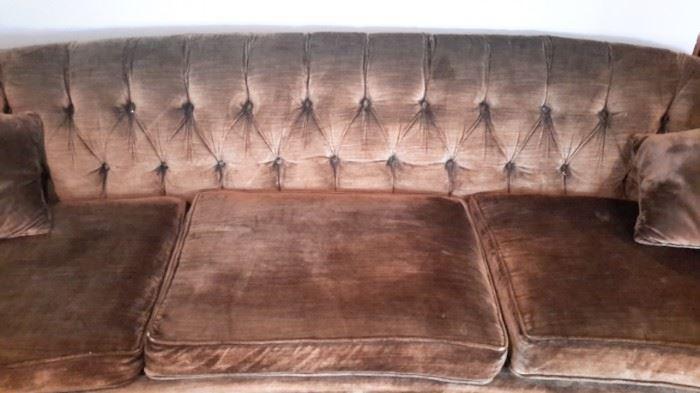 Vintage tufted velour sofa, brown/gold.