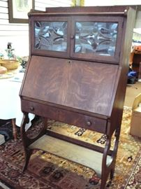 Oak Drop front Secretary with leaded glass Starting at $299