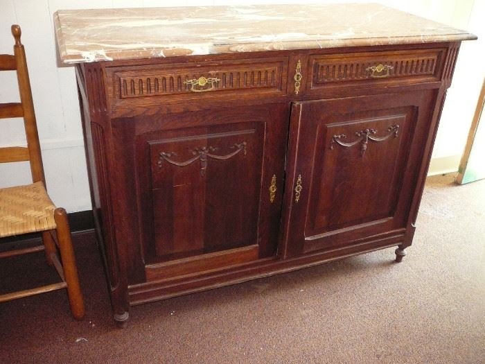 Antique French Marble Top Server Has a mirror as well starting at $299