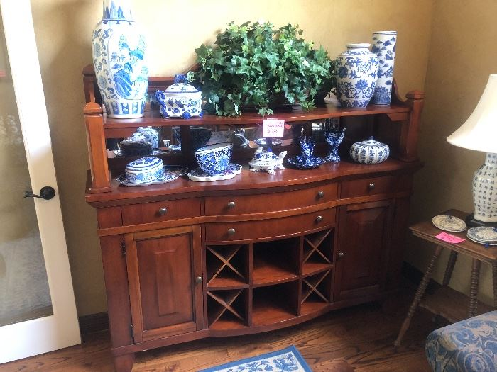 Basset Server and tons of blue and white pottery throughout the home!