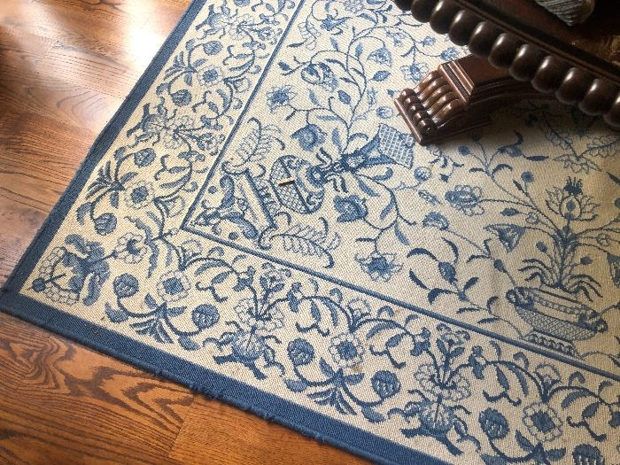 Lots of blue and white rugs in the home!