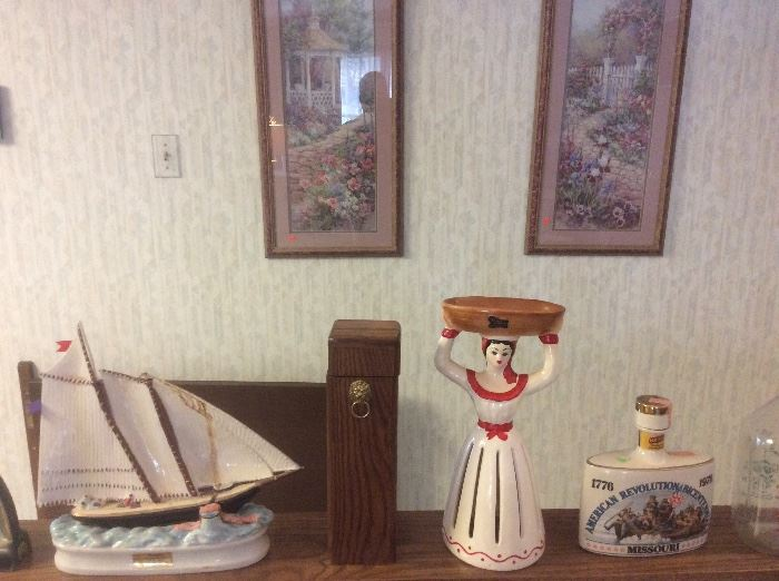 Decanters and vintage snack dish
