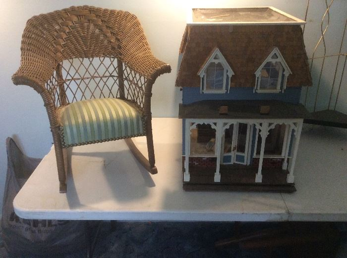Old child's rocker and wood doll house