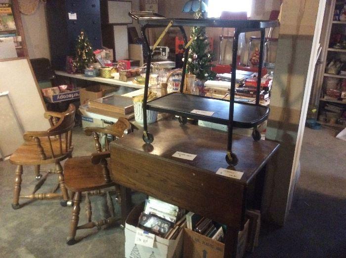 Vintage metal cart. And old wood table
