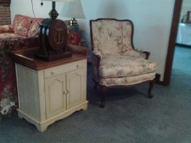 TWO DOOR COMMODE TIGER MAPLE TOP $95.00 UPHOLSTERED SIDE CHAIR $55.00