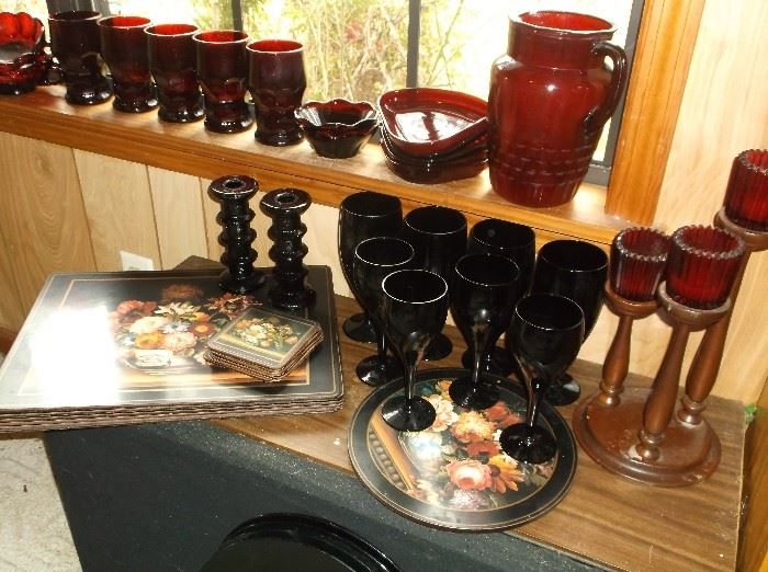 Ruby red and black glassware